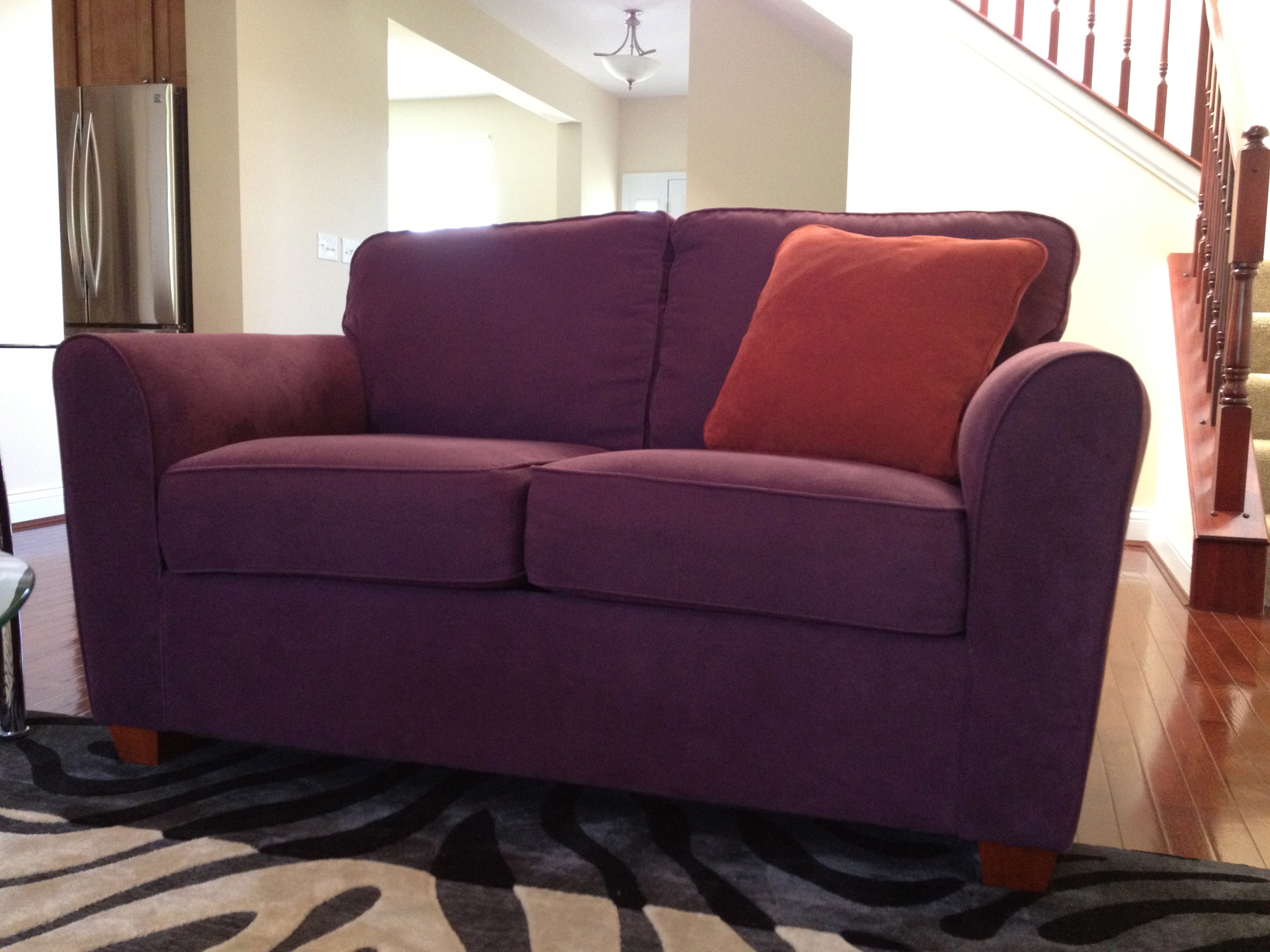 Awesome Throw Pillow Throwdown Two Purple Couches Evergreenethics Interior Chair Design Evergreenethicsorg