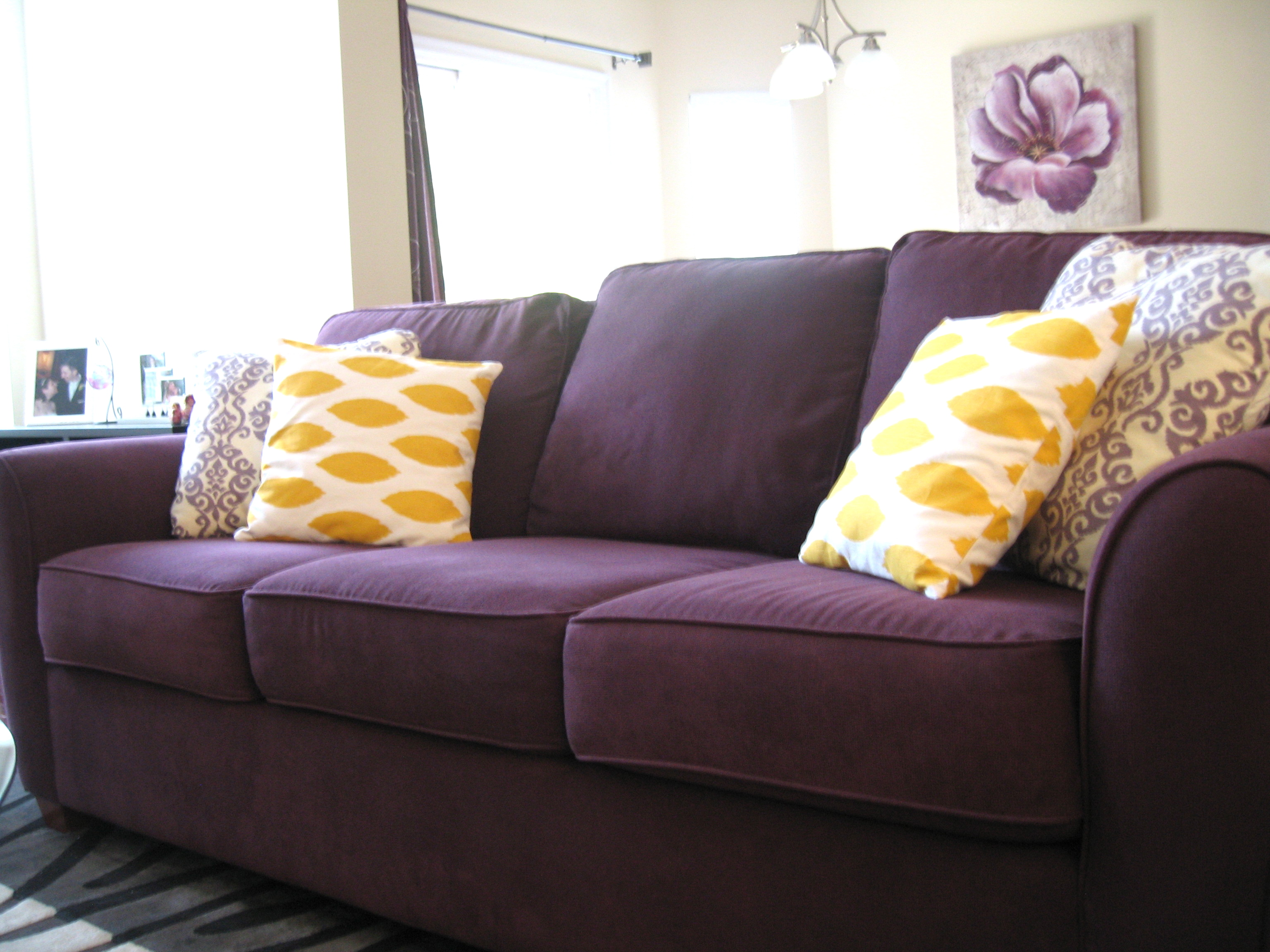 Purple hearts yellow two purple couches for Purple sofa