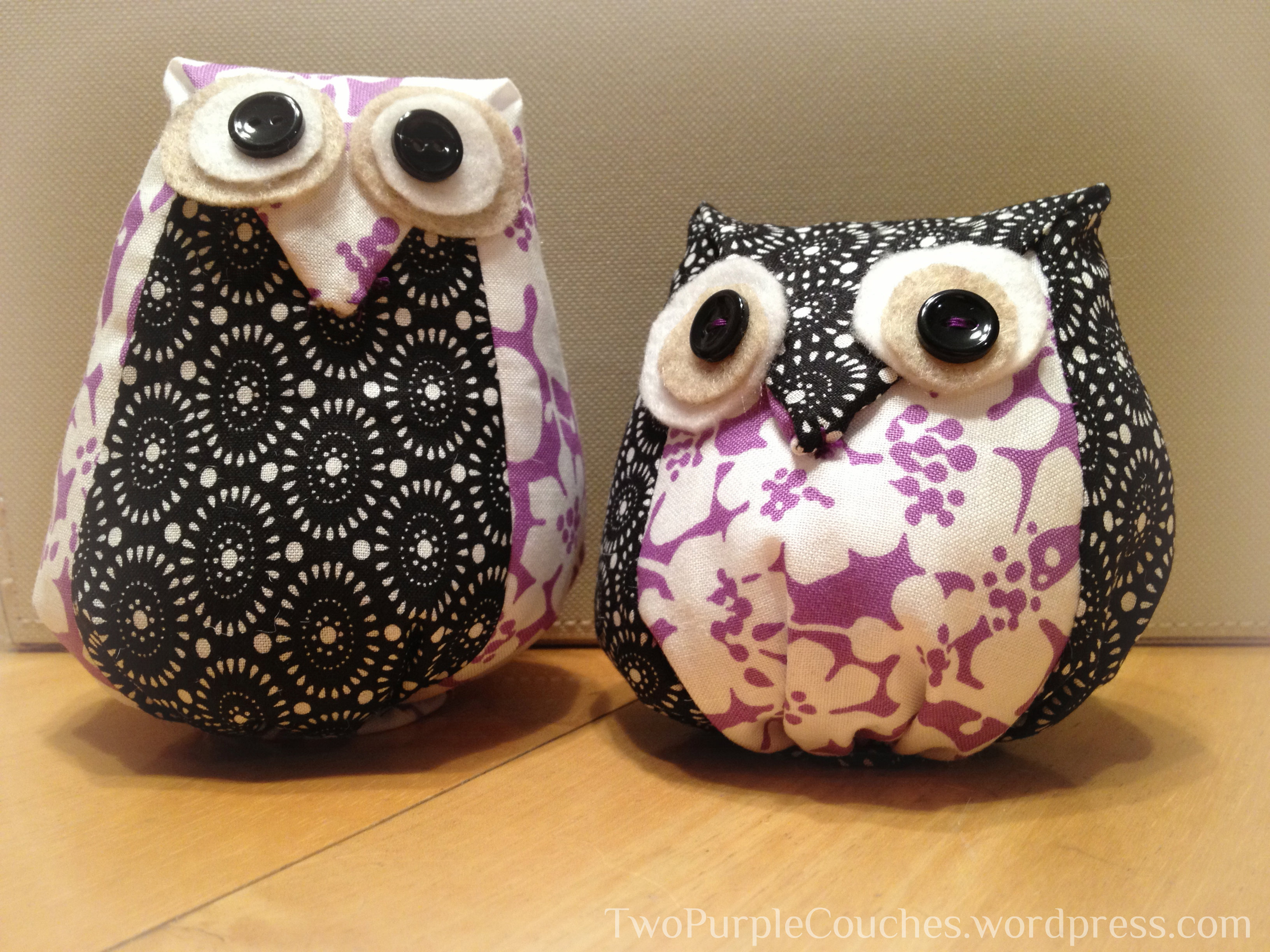 A Hoot of a Handmade Gift - two purple couches