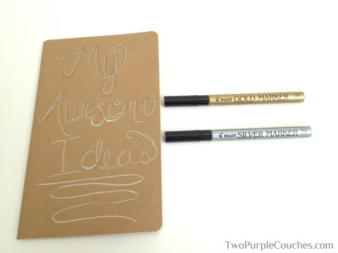 paint-pen diy notebooks -- TwoPurpleCouches.com