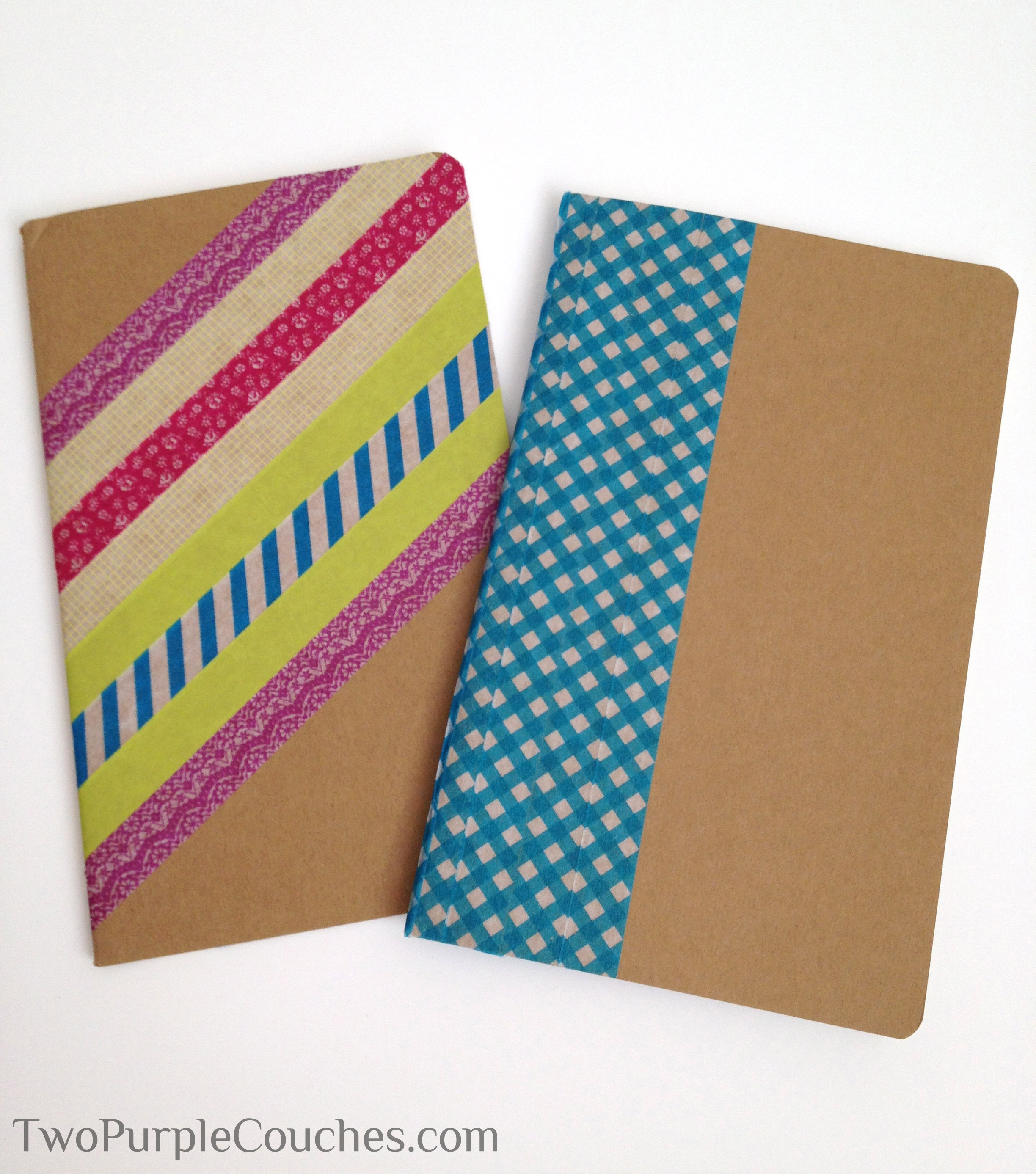 Washi Tape Book Cover Ideas : Diy washi tape notebooks two purple couches