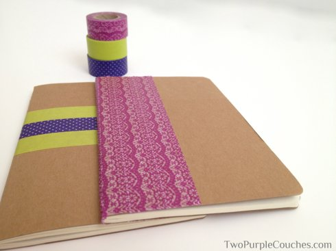 diy washi notebooks -- TwoPurpleCouches.com
