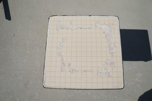 chipped tile table