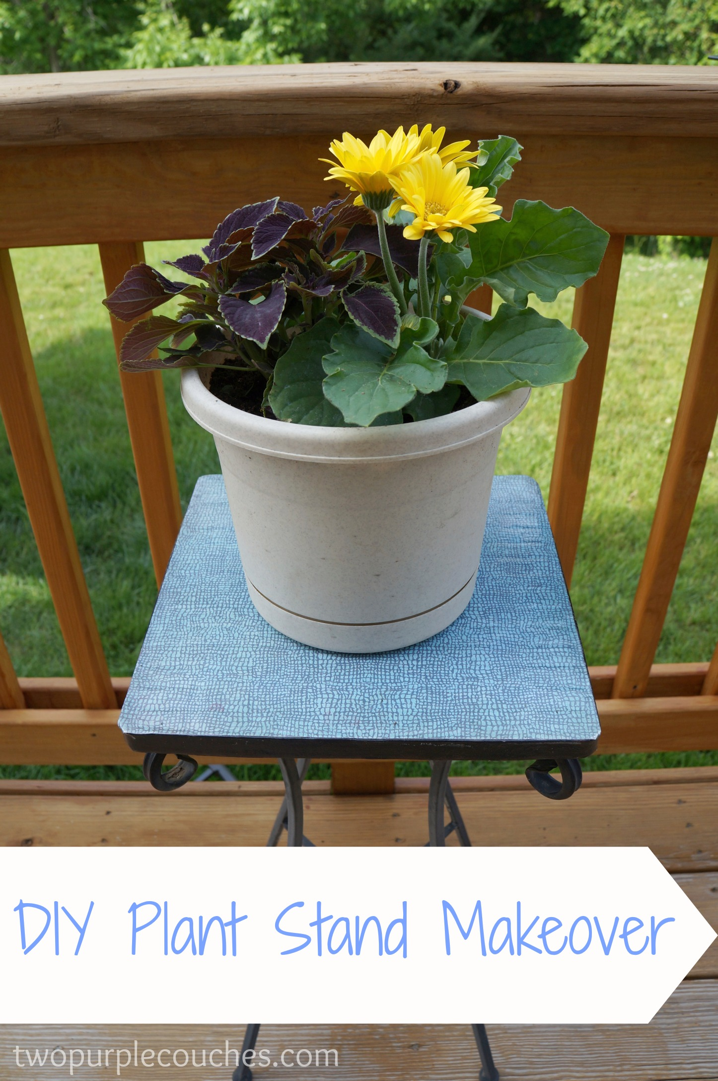 DIY Plant Stand Makeover - two purple couches on House Plant Stand Ideas  id=76178