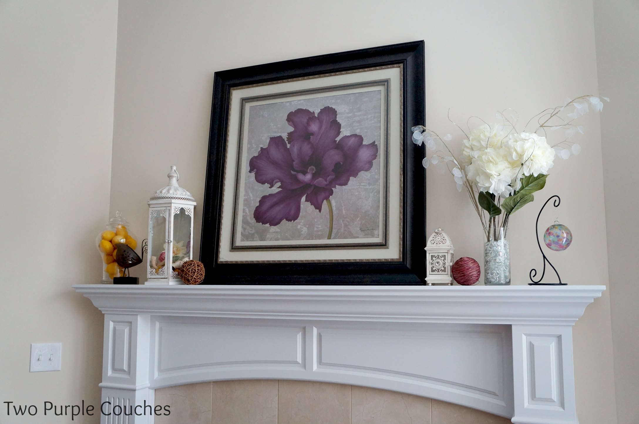 fireplace mantel archives two purple couches