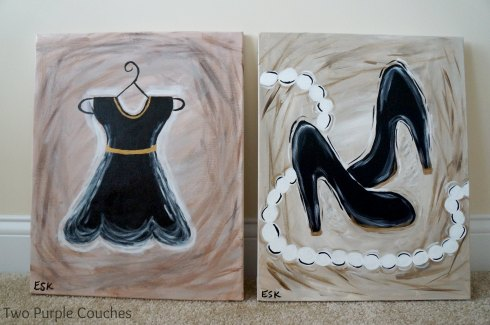 dress and shoes paintings
