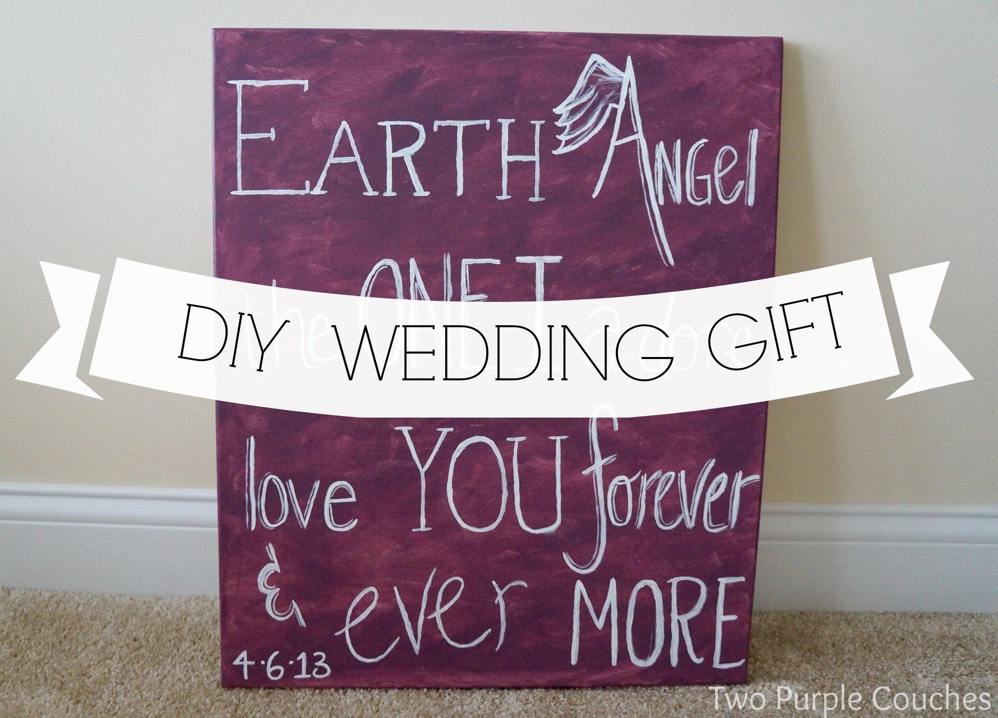 diy wedding gift canvas & DIY Wedding Gift: Lyrics on Canvas - two purple couches
