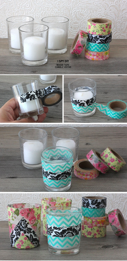 I Spy DIY Washi Tape Votives
